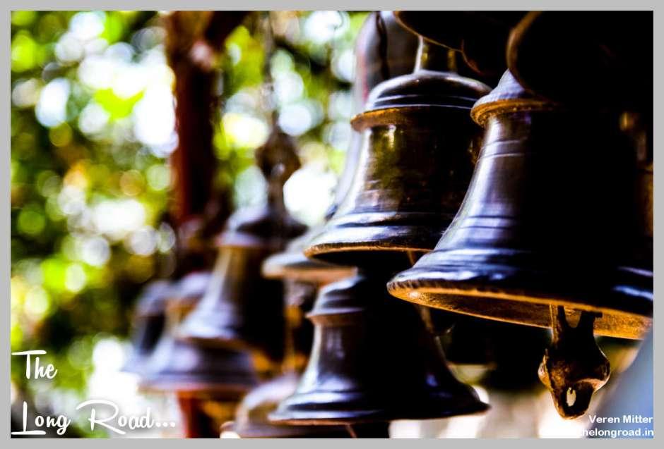 Bells in a row at temple Kumaon uttarakhand Himalaya India