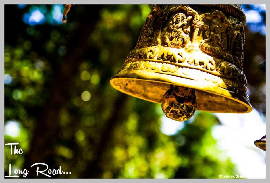 Carved brass temple bell at Kumaon Uttarakhand India