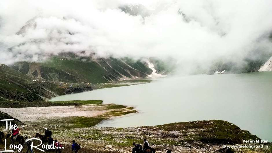 View of Sheshnag, Amarnath along cloud by the side.