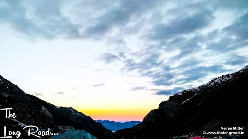 The sun spreading its aura at Sheshnag valley. Amarnath