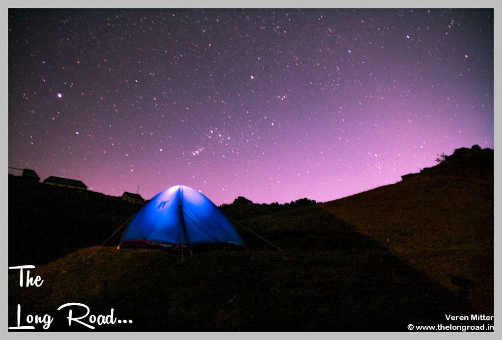 Twilight sky at Prashar lake camp site