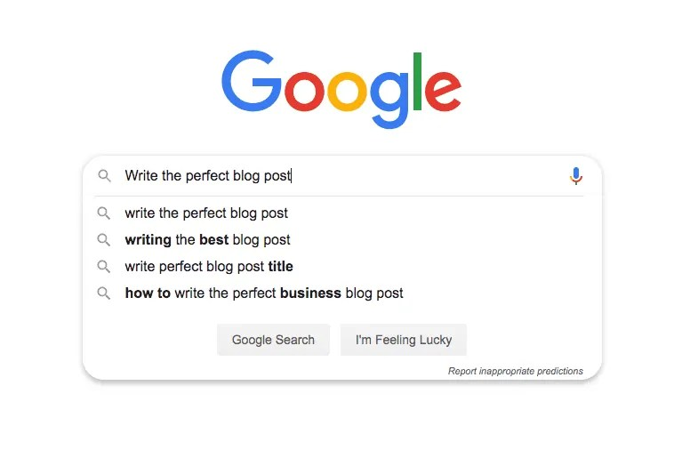 google search for write the perfect blog post