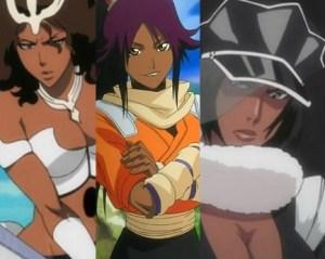 I 9 personaggi di colore nelle anime più affascinanti Mila Rose - Yoruichi Shihōin - Jackie Tristan - Bleach