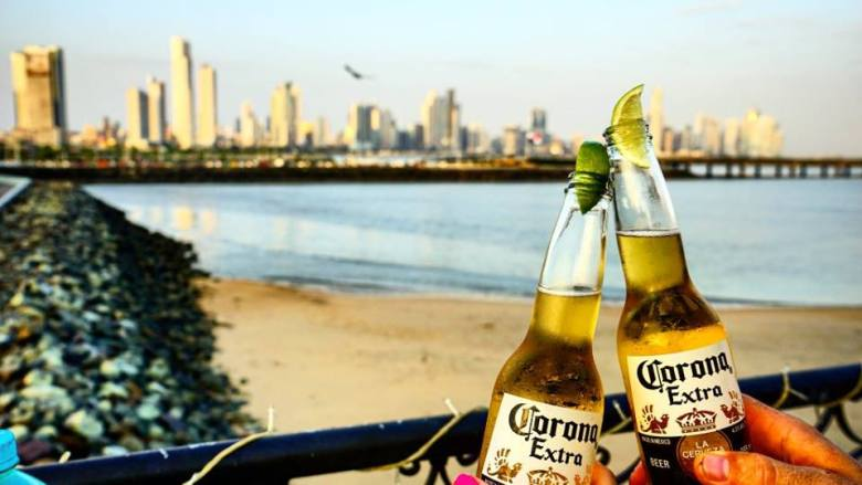 Coronas with a view of downtown Panama City.