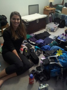 The night before I flew out. A wee big disorganized and a lot of stuff to cram into my bag.