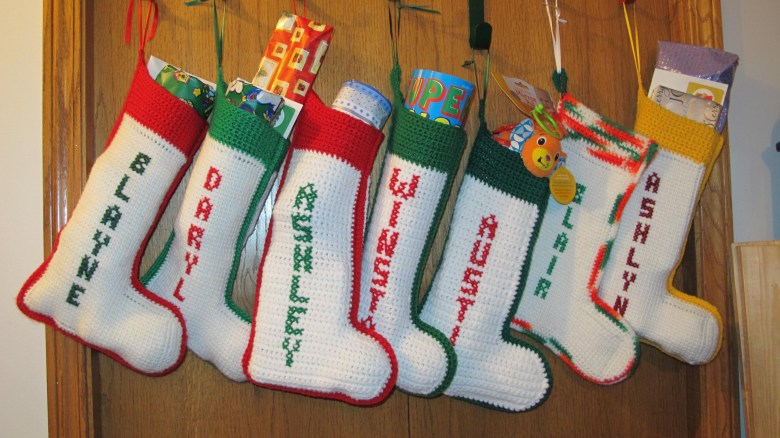 Handmade stockings of all the kids in our family (minus my newest nephew born this past May).