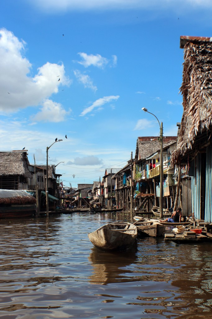 A view down a 'street' in the floating village of Belen.