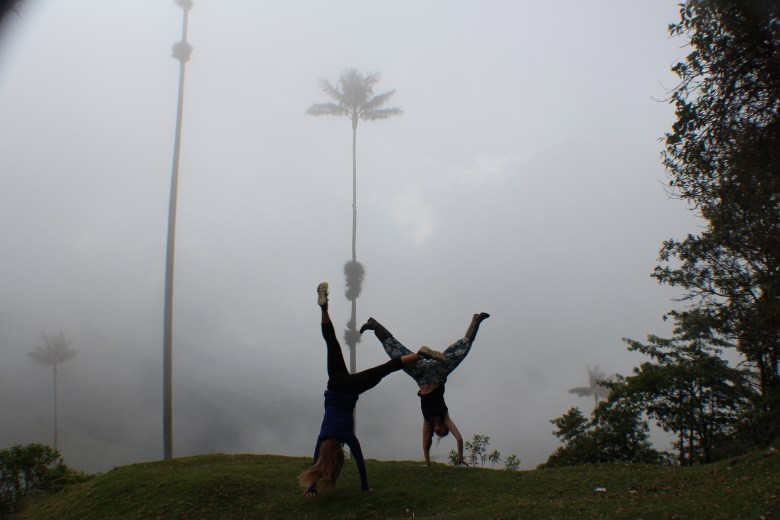Cartwheels amongst giant wax palms: Melanie and I spent a whole week together in Colombia and met up again in Peru.