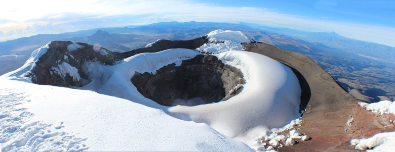 Looking down at Cotopaxi's still-active crater.