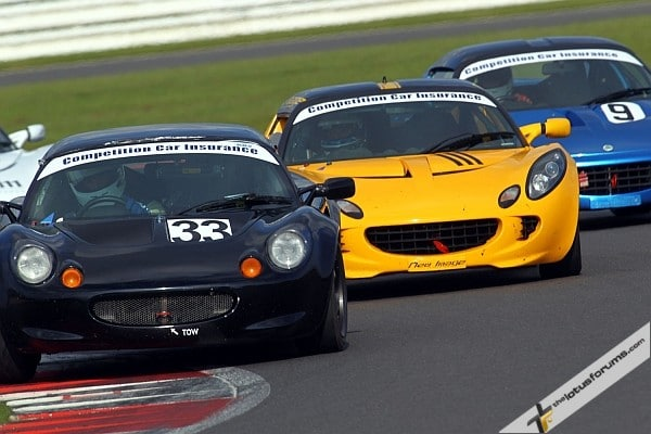 Martin Wills leads Elise Trophy race winners Steve Quick and Rob Boston during one of several intense battles (image courtesy of Snappyracers)