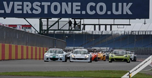 (L-R) Chris Randall, winner Adrian Hall and Adam Balon head the huge 53-car Lotus Cup UK field at Silverstone