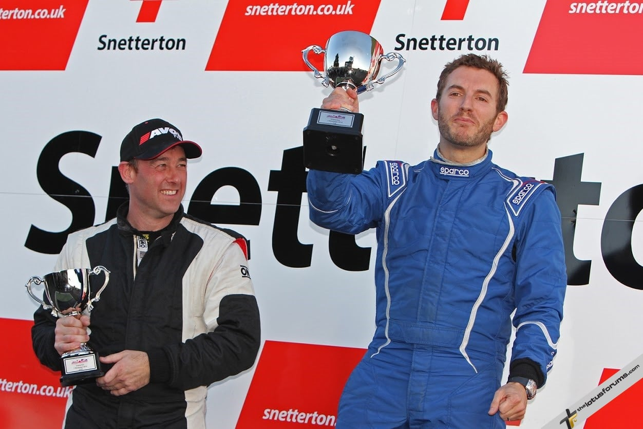 L-R: Craig Denman and Jason Baker shared the Elise Trophy spoils at Snetterton