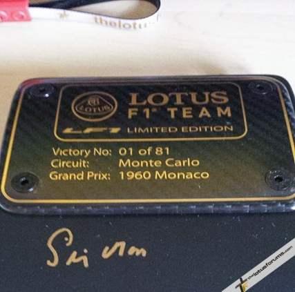 Exige LF1 #1 signed plaque
