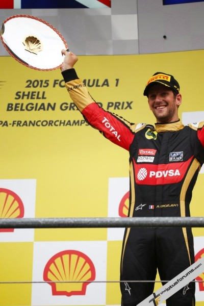 Romain Grosjean (FRA) Lotus F1 Team celebrates his third position on the podium. Belgian Grand Prix, Sunday 23rd August 2015. Spa-Francorchamps, Belgium.