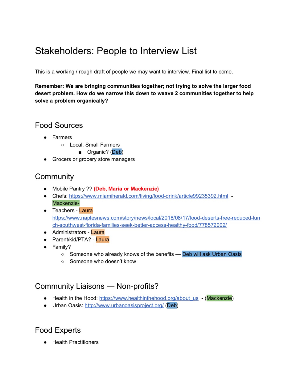 Designing Innovation: Stakeholder Mapping, Interviews