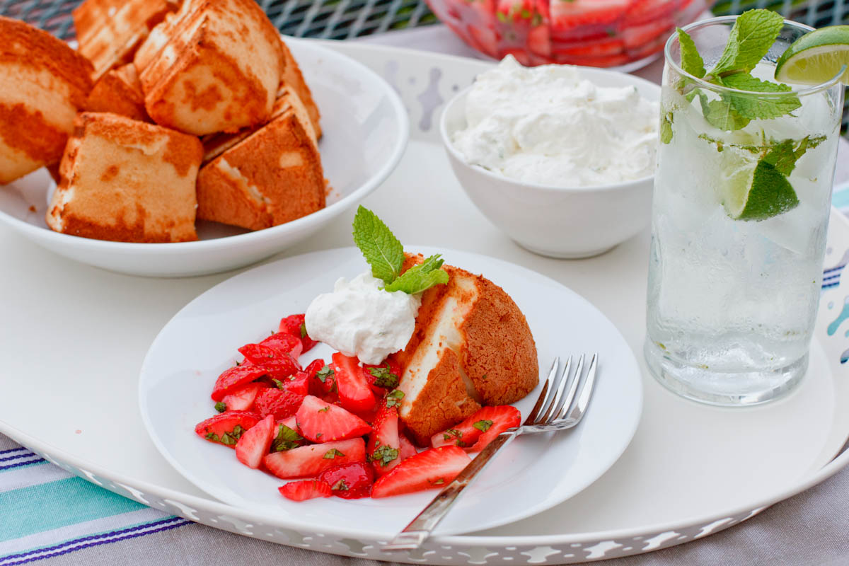 Grilled Angel Food Cake with Mojito Berries and Lime Scented Whipped Cream