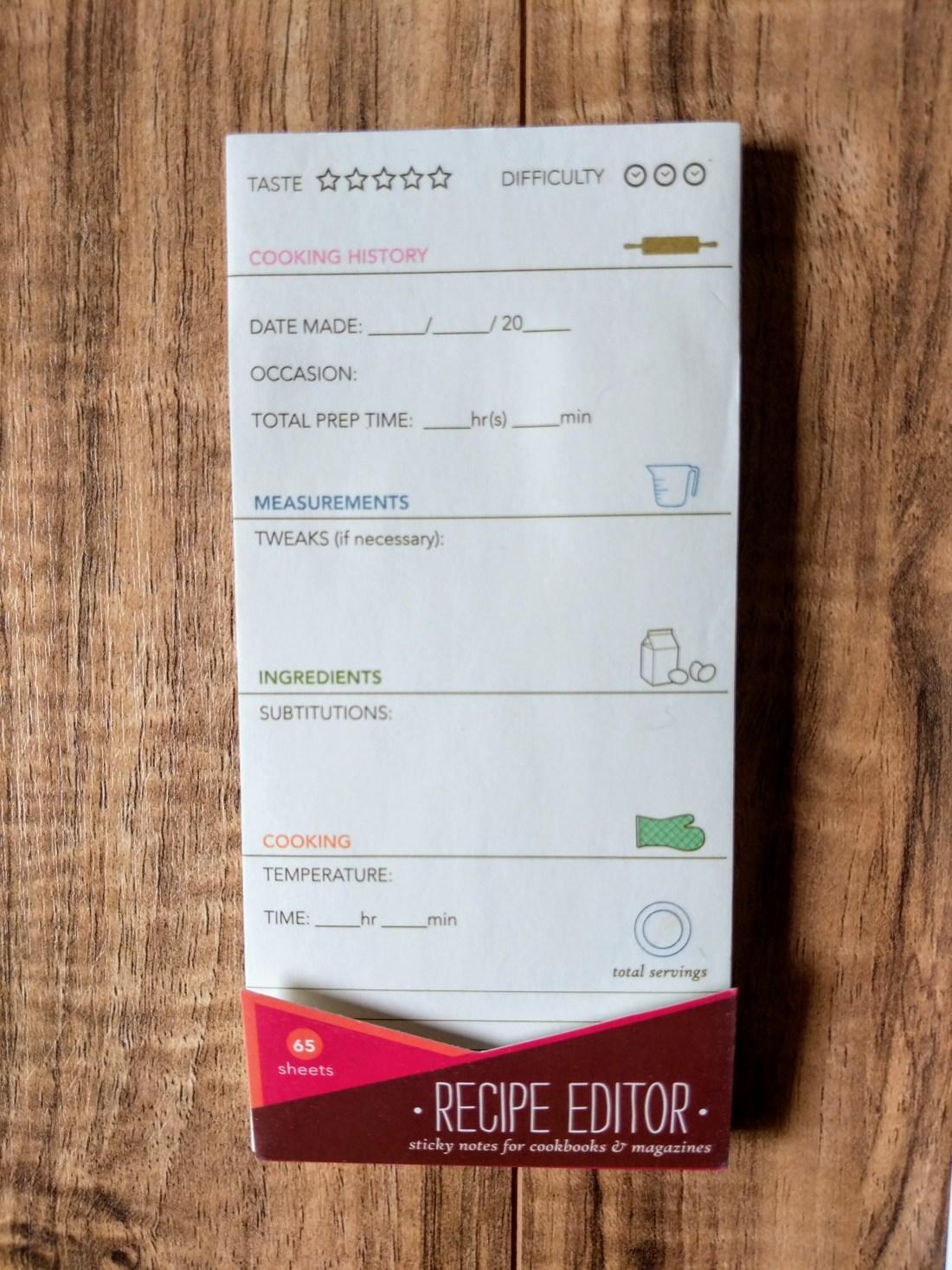 Recipe Editor Sticky Notes
