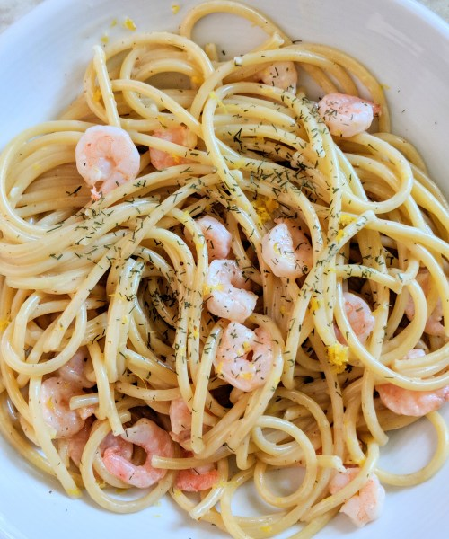 Bucatini with Shrimp and Lemon Dill Aioli