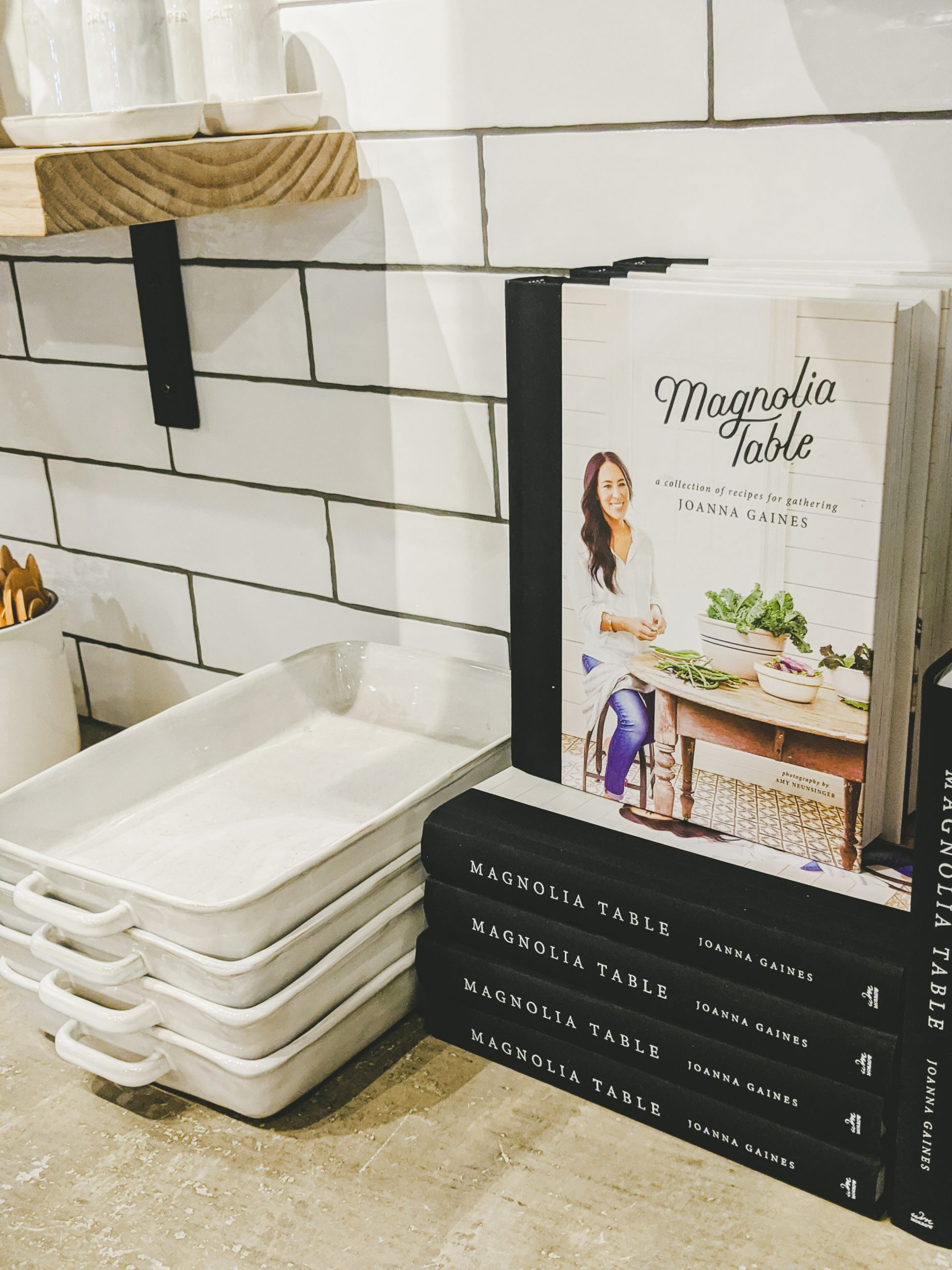 magnolia market kitchen display with cookbook