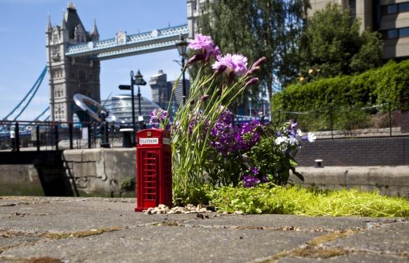 Miniatura caixa do telefone de Londres e Jardim