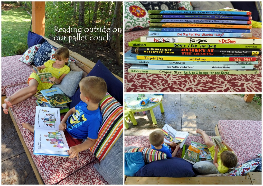 pallet furniture DIY upcycle books kids book shelf pallet couch reading learning outside ottawa