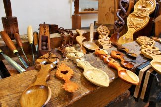 Lovespoons handcarved at The Lovespoon Workshop.