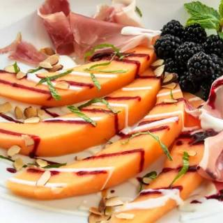 uscan Melon & Blackberry Salad with Yogurt Chevre Dressing & Pancetta | LunaCafe