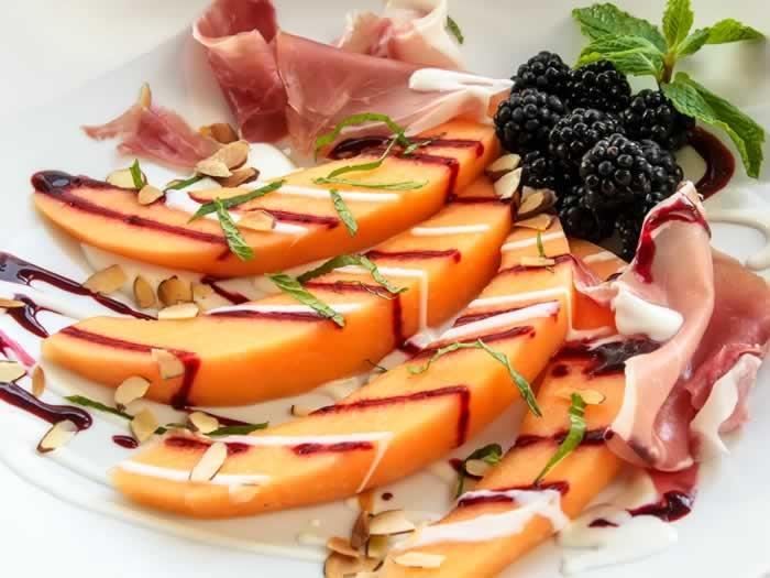 uscan Melon & Blackberry Salad with Yogurt Chevre Dressing & Pancetta   LunaCafe