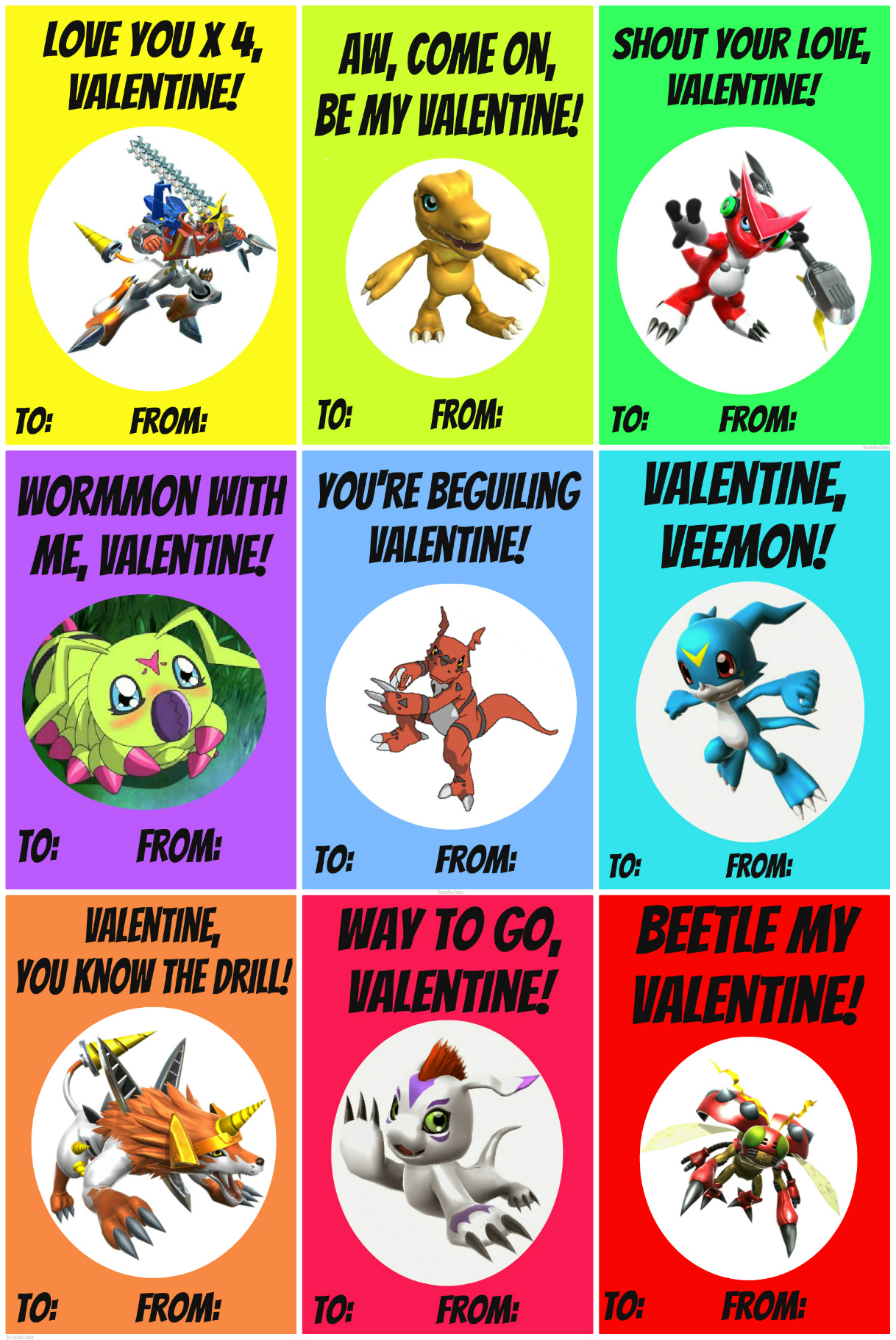 Homemade Free Printable Digimon Style Valentines THE