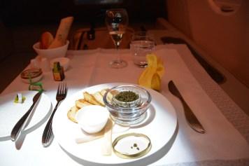 Qatar Airways First Class - Caviar appetizer
