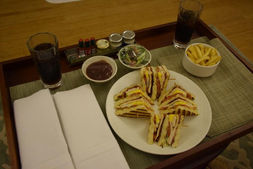 Raffles Praslin - Room service: club sandwich