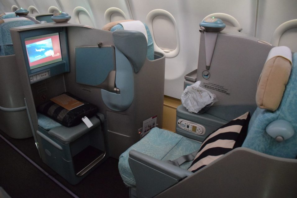 Etihad Airways Pearl Business Class - Window seat screen