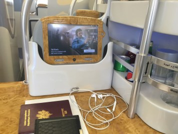 Emirates A380 Business Class - Seat mini-bar and touch pad