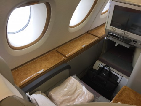 Emirates A380 Business Class - Overview of window seat
