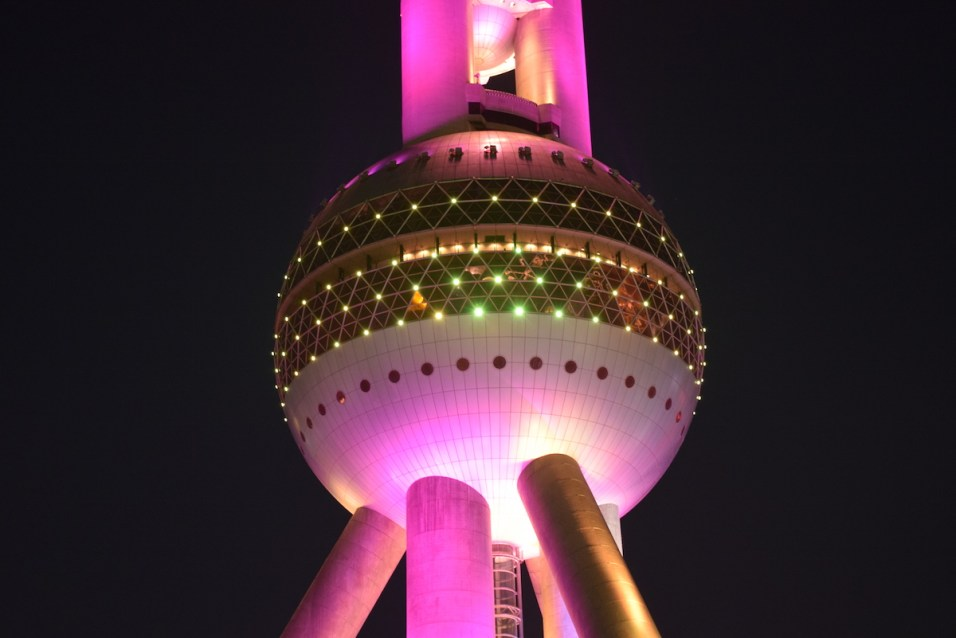 Tour of China - Shanghai Pudong, Oriental Pearl by night