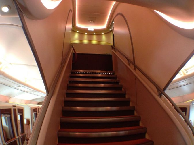 Singapore Airlines A380 Suites - Stairs to upper floor (Business Class)