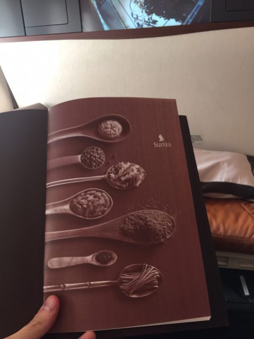 Singapore Airlines A380 Suites - Menu
