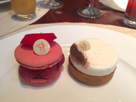"Pierre Hermé desserts ""Ispahan"" (left) and ""Infiniment Vanille"" (right)"
