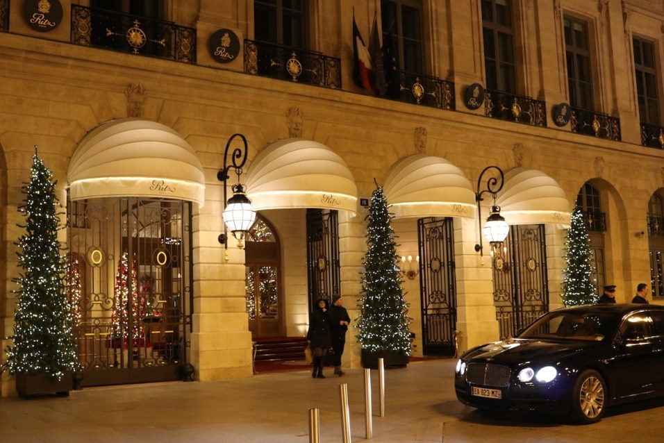 Ritz Paris entrance by night