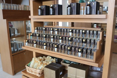 Collection of essential oils at shopping area