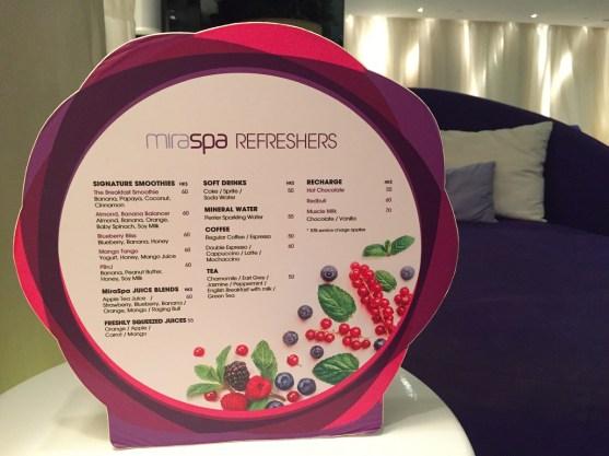 Mira Spa refreshers menu