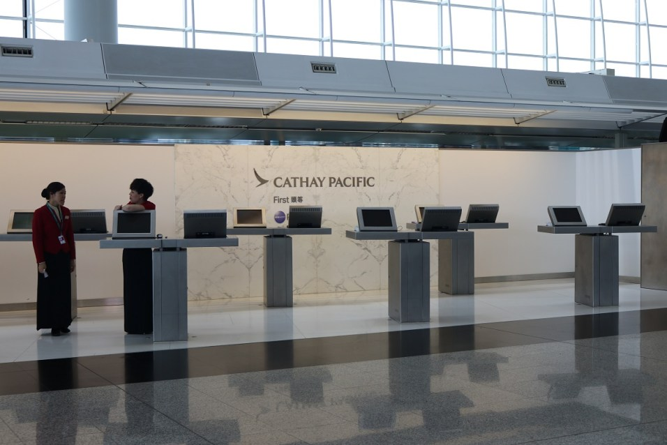Cathay Pacific First Class counter at Hong Kong airport terminal 1