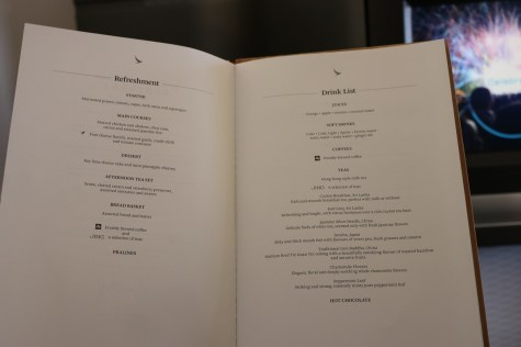 First Class lunch menu