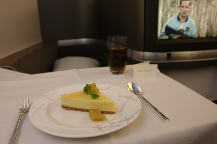 Dessert from Cathay Pacific First Class lunch