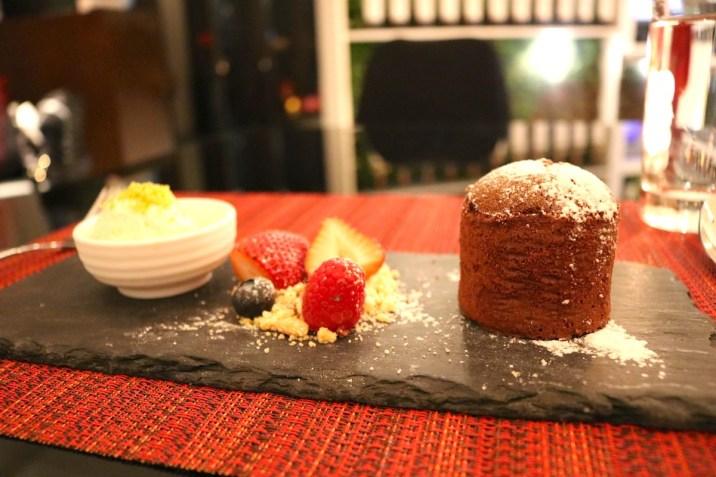 Dinner - Chocolate fondant dessert