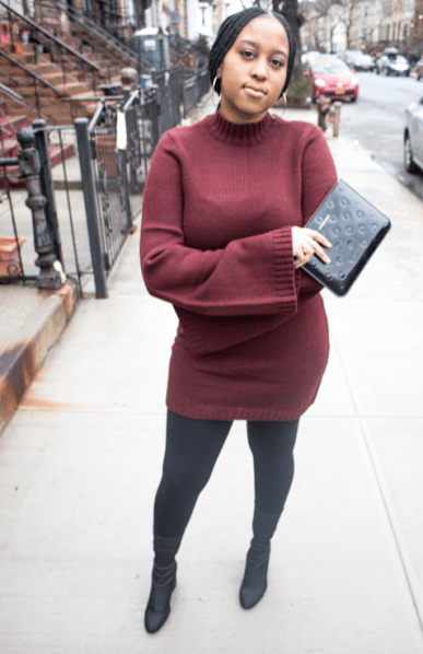 Burgundy-Bell-Sleeve-Sweater-Dress-Night-Out-Outfit
