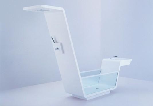 Combo Basin And Bathtubs Futuristic Design Ebb Bathroom