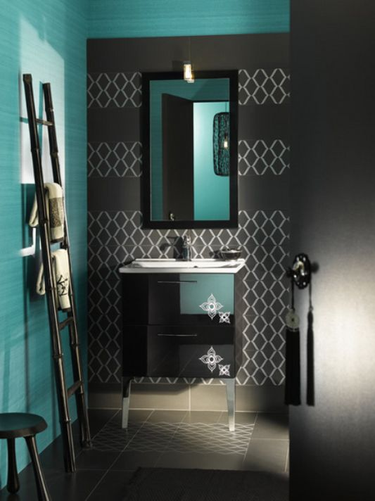 Black Decorative 3 Piecetowel Set 11976704 Bathroom Accessories