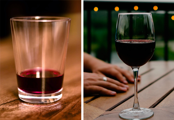 Hay mucha diferencia entre el vino servido en vaso y en copa