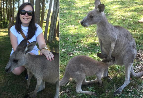 Nuestra colaboradora con una mamá canguro y a la derecha, un bebé comiendo del marsupio de su mamá